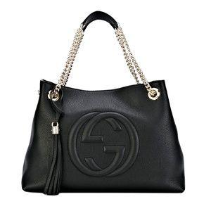 Soho Medium Chain-strap Black Leather Tote